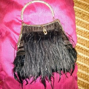 Ostrich feather mini clutch